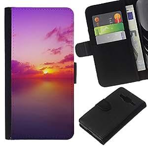 All Phone Most Case / Oferta Especial Cáscara Funda de cuero Monedero Cubierta de proteccion Caso / Wallet Case for Samsung Galaxy Core Prime // Sunset Beautiful Nature 82