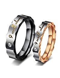 GINBL Cubic Zirconia Women Men Titanium Couple Rings for Him and Her Engagement Promise Wedding Bands