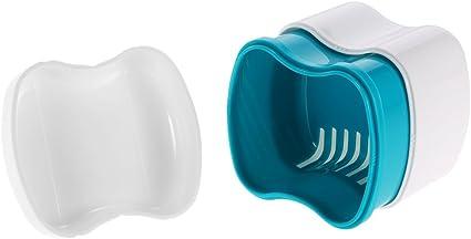 zroven Baño caja de la caja de la dentadura dental dientes falsos Bandeja Holder limpieza depósito de lavar la cesta de retención Appliance: Amazon.es: Belleza