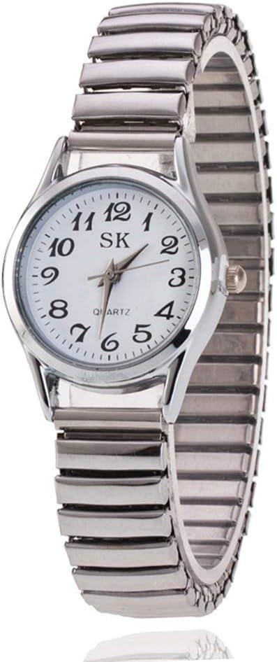 Moda Simple Relojes para Hombre Mujer Correa de Aleación Números Arábigos Fácil de Usar Elástico Reloj de Pulsera para Mediana Edad y Ancianos (Color : White for Women)