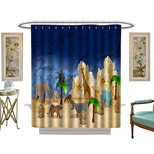 luvoluxhome Shower Curtains Sets Bathroom The Zoo in Origami Satin Fabric Sets Bathroom W48 x ()