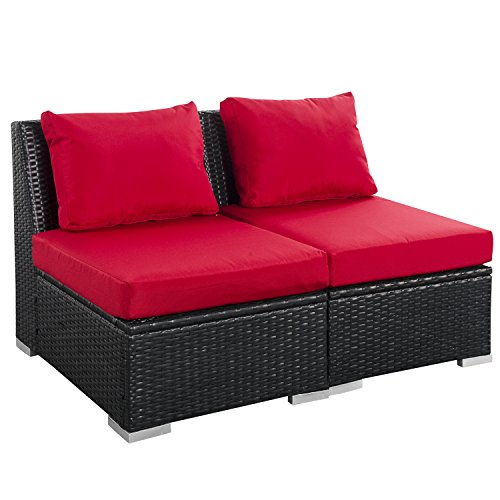 (2 PCS Outdoor Patio Furniture Set Red - Modern Rattan Wicker Sofa with Cushions for Garden Backyard)