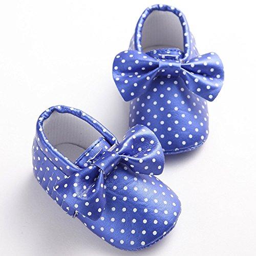 etrack-online Kid Niños Moccasins suave suela antideslizante Dot Bow-knot Zapatos de Prewalker dorado dorado Talla:12-18months azul oscuro