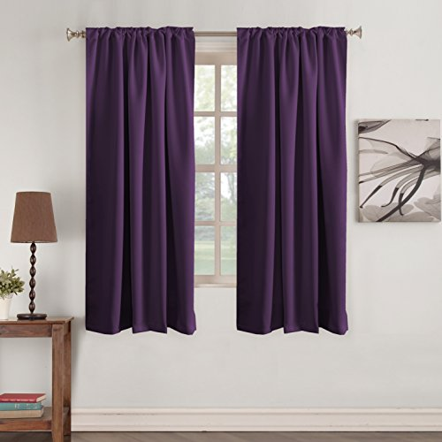 Hanging Panels Curtain (Turquoize Premium Blackout 63 - inch Curtain Panels Pair - Back Tab/Rod Pocket Window Drapes for Bedroom/Living Room Thermal Insulated Window Short Curtains (Solid Plum Purple))