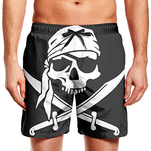 Men's Swim Trunks Classic Crossbone Skull Head Quick Dry Beach Board Shorts with Pockets