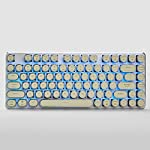 Mechanical Gaming Keyboard Wired 82 Keys Cherry MX Brown Switches Keyboard with Steampunk Retro Vintage Typewriter Style Keycaps Blue Backlight White 7