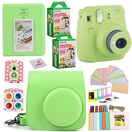 Fujifilm Instax Mini 9 Instant Fuji Camera (Lime Green) + Case + Instant Mini 9 Film 40 Pack + Accessories Bundle: Colorful Picture Frames + Decorative Stickers + Selfie Mirror + Photo Album & More.
