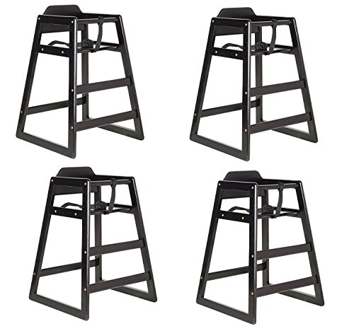 (Black Finish Stacking Restaurant Wood High Chair 4 PACK solid wood)