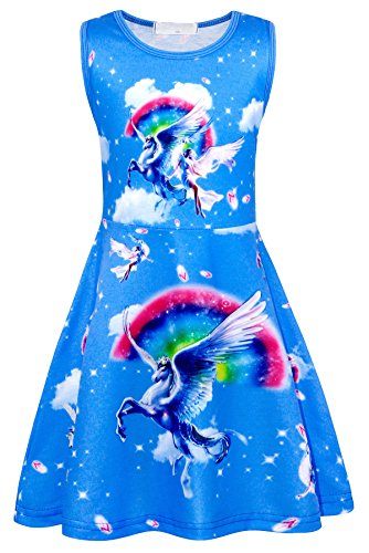 Cotrio Little Girls' Unicorn Dress Toddler Sleeveless Rainbow Birthday Theme Party Dresses Casual Playwear Dress Up Size 6 (120, 5-6Years, Blue) ()