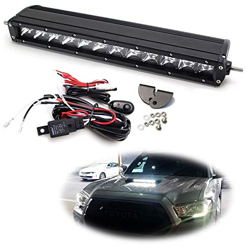 iJDMTOY Hood Scoop Mount LED Light Bar Kit For 2016-up Toyota Tacoma, Includes (1) 60W High Power LED Lightbar, Hood Bulge Mounting Brackets & On/Off Switch Wiring Kit