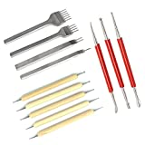 Asayu Leathercraft 1/2/4/6 Prong 5mm Hole Punch Chisel Leather Craft Tools, and Leather Craft Tool Modeling Point Stylus Modelling Carving Tool