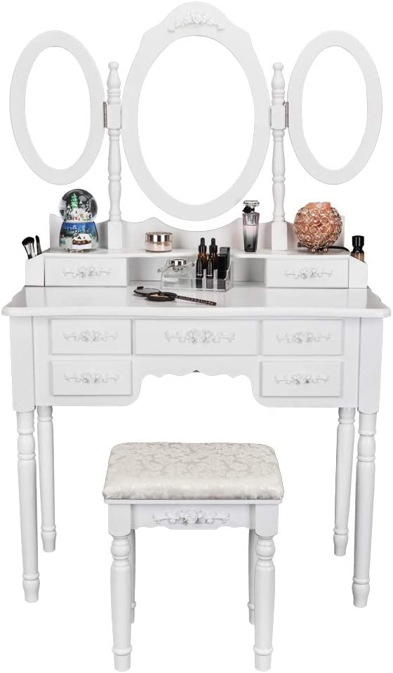 Bonnlo 7 Drawers Vanity Table Set for Girls Tri-Folding Mirrors Makeup Vanity Table with Cushioned Stool 2 Drawer Dividers 2 Makeup Brush Holders