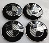 BMW Black Silver Carbon Fiber Emblem Badge Logo Wheel Center Hubs Caps Sticker Adhesive 65mm 4pcs