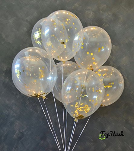 TopHush 18 Pieces Gold Confetti Party Balloons 12 Inches (Gold Confetti Inside), Free Mouth or Tube, For Events, Party, Wedding, Christmas, and Proposal Decorations]()