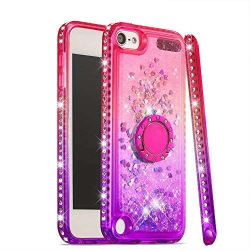 Case for iPod Touch 7/iPod Touch 6, DOOGE Luxury Diamond Glitter Bling Case for Women Girls, Ring Stand Holder Thin Sparkly Rhinestone Protective Kickstand Case for iPod Touch 5/6/7th - Shield Case Rhinestones Protector