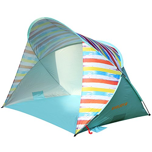 #WEJOY 3-4 Persons Beach Tent Oversize Pop-up UPF 50+ Portable Durable Sun Shelter Camping Hiking Canopy Easy Set Up Light Weight Windproof Stable