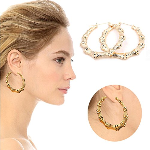 - 1Pair Fashion Punk Gold Tone Bamboo Big Hoop Large Alloy Circle Earrings