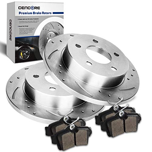 CENCORE  Rear Left & Right Non-Coated Anti-Rust Brake Disc Plate Kit Cross Drilled & Slotted 2 Brake Rotors & 4 Ceramic Brake Pads Compatible with 1994-1998 Ford Mustang Base or GT, Excludes Cobra