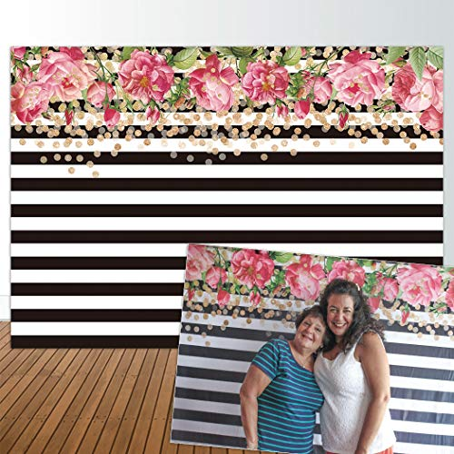 Allenjoy 7x5ft Photography backdrops Black and White Stripe Stripes Watercolor Pink Rose Flower Golden Glitter Circles Banner Birthday Party Event Wedding Bridal Shower Photo Studio Booth Background ()