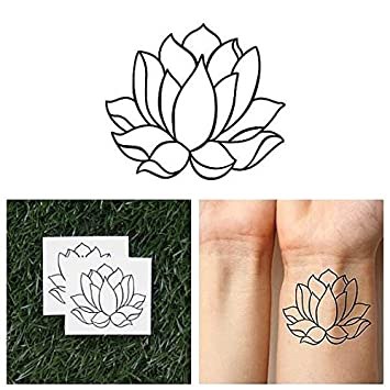Amazoncom Tattify Simple Lotus Flower Temporary Tattoo Two
