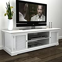 Daonanba Practical Elegant Antique White Wooden TV Stand Sturdy TV Console