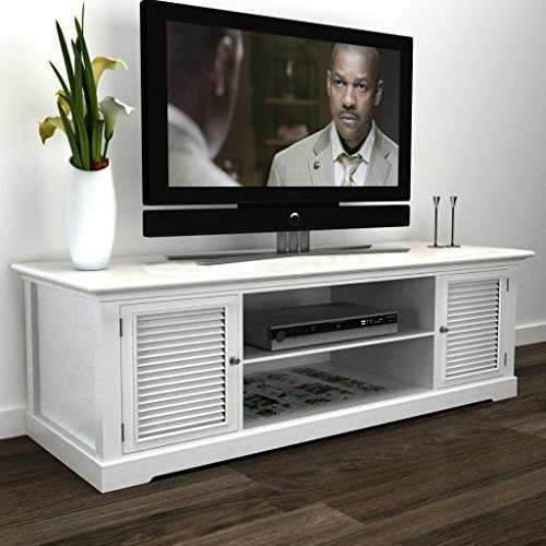 SKB Family White Wooden TV Stand Storage Cabinet Media Furniture (Antique White Tv Stand Flat Screen)
