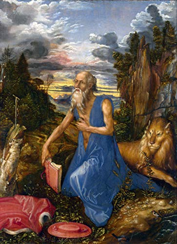 $50-$4000 Hand Painted Art Paintings by College Teachers - Albrecht Durer St Jerome in The Wilderness German Renaissance Oil Painting Reproduction - Wall Decor Canvas Old Famous Works -Size01