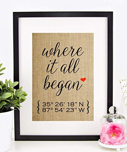Valentines Day Gifts for Him or Her, Personalized Wedding Gift for Couple, Anniversary, Engagement: Where It All Began, Latitude Longitude (8x10 or 11x14 Burlap Print) (The Best Gift For Valentine For Him)