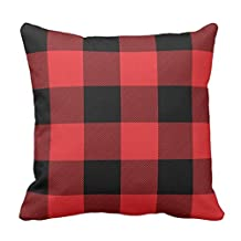 Rustic Red and Black Buffalo Check Plaid Throw pillow case 18*18