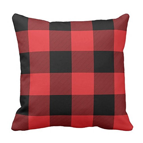 Rustic Red and Black Buffalo Check Plaid Throw pillow case 18*18 moped carbonate