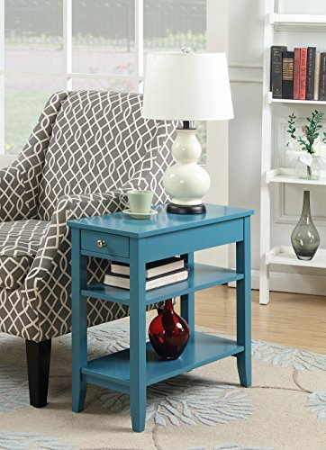(Convenience Concepts American Heritage 3-Tier End Table with Drawer, Blue)