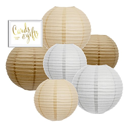 Andaz Press Hanging Paper Lantern Party Decor Trio Kit with Free Party Sign Kraft Brown White Ivory 6Pack For Burlap Colored Rustic Bridal Shower Outdoor Wedding Decorations