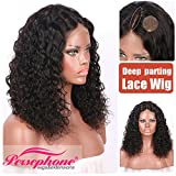 Persephone Brazilian Short Curly Human Hair Wigs for African American Women -3.8'' Middle Deep Part Human Bob Wigs with Baby Hair 130 Density 10 inch Natural Color