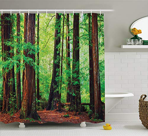 Ambesonne Tree Shower Curtain Woodland Decor, Redwood Trees Northwest Rain Forest Tropical Scenic Wild Nature Lush Branch Image, Polyester Fabric Bathroom Shower Curtain Set with Hooks, Brown Green Dark Brown Forest Green