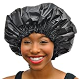 XL Shower Cap - Adjustable Satin Lined & WaterProof By Simply Elegant: The Satin Dream Jumbo ShowerCap X-Large and Extra Cute - The Best in Long Hair Products & Protection (Patent Pending)