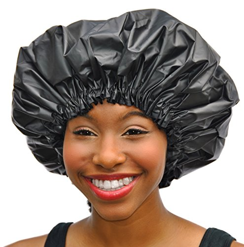 XL Shower Cap - Adjustable & WaterProof By Simply Elegant: The Satin Dream Jumbo ShowerCap X-Large and Extra Cute - The Best in Long Hair Products & Protection (Patent Pending) by Simply Elegant