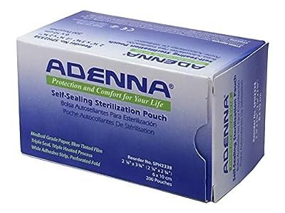 "Adenna White Paper/Blue Tinted Film 2-1/4"" X 2-3/4"" Sterilization Pouch (Box of 200)"