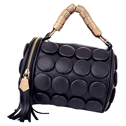 Top Shop Womens Leather Tassels Barrel-shape Handbags Casual Tote Bags Black - Biasia Tote Woven Francesco