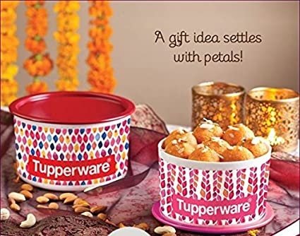 Tupperware Petals Collection One Touch Topper Container Set, 2-Pieces