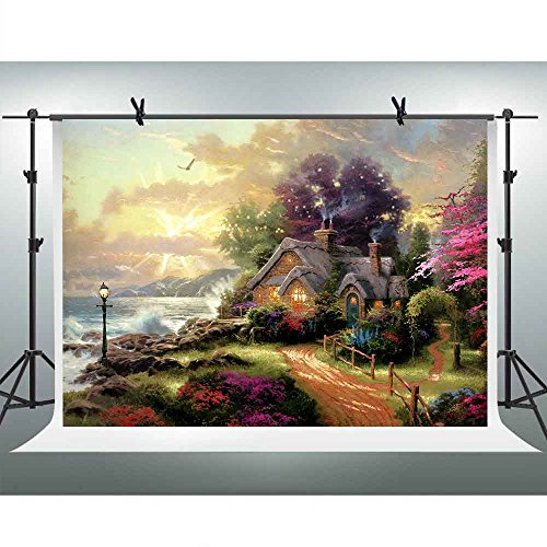 FHZON 10x7ft Thomas Fine Oil Painting Photography Backdrop Seaside Cottage Flowers Dream Landscape Background TV Wall Wallpaper Themed Party YouTube Backdrops Photo Booth Studio Props FH1359