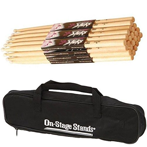 On Stage 12 Pair HN5A Hickory High Quality Drum Sticks with Nylon Tip+Drum Stick Bag 5a Hickory Nylon Tip Drumsticks