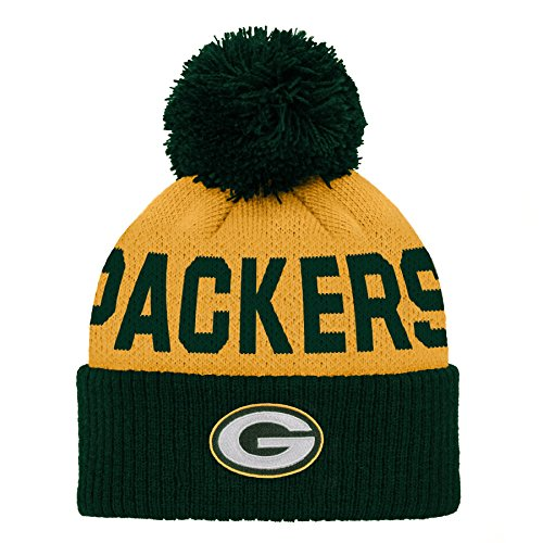 NFL Green Bay Packers Jacquard Cuffed Knit Hat with Pom Hunter Green, Infant One Size