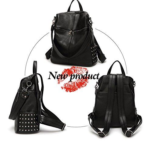 pour noir dos loisir femmes Fanshu cuir Sac Cartable à Z1wxqnz8BI