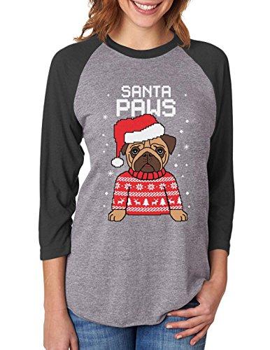 Santa Paws Pug Ugly Christmas Sweater Dog 3/4 Women Sleeve Baseball Jersey Shirt Small black/gray (Ugly Christmas Sweater Contest Ideas)
