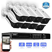 Safevant 8 Channel 1080P AHD Home Security Cameras System W/ 8x HD 2.0MP (1920TVL) Waterproof Night Vision Indoor/Outdoor CCTV Surveillance Camera,Pre-installed 2TB HDD,Free APP,Plug&Play