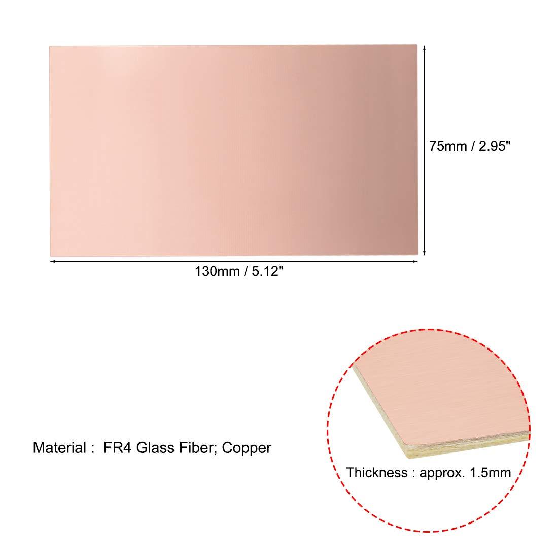 sourcing map 5Pcs 100x70mm Stratifi/é double face rev/êtement Cuivre Circuit imprim/é FR4 1.5mm