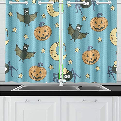 YUMOING Fantastic Unusual Halloween Pumpkins Kitchen Curtains Window