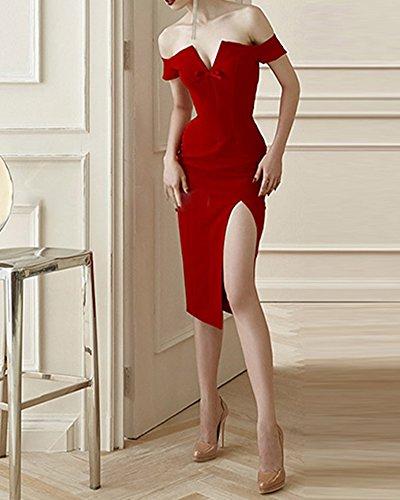 Whoinshop Damen Off Schulter Elegante Bodycon Kleid Schulterfrei ...