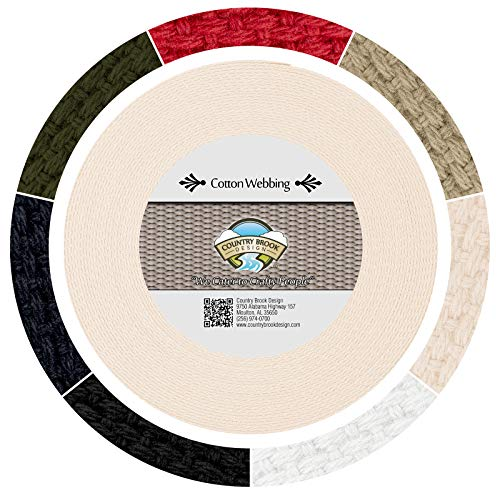 Country Brook Design 1 1/2 Inch Natural Heavy Cotton Webbing, 10 Yards