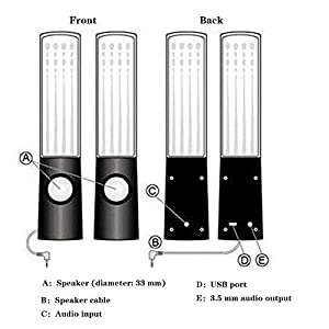 KOBWA Bluetooth Water Dancing Speakers Light Show Water Fountain Speakers for IPhone, IPad, Laptops, Smartphone, MP3